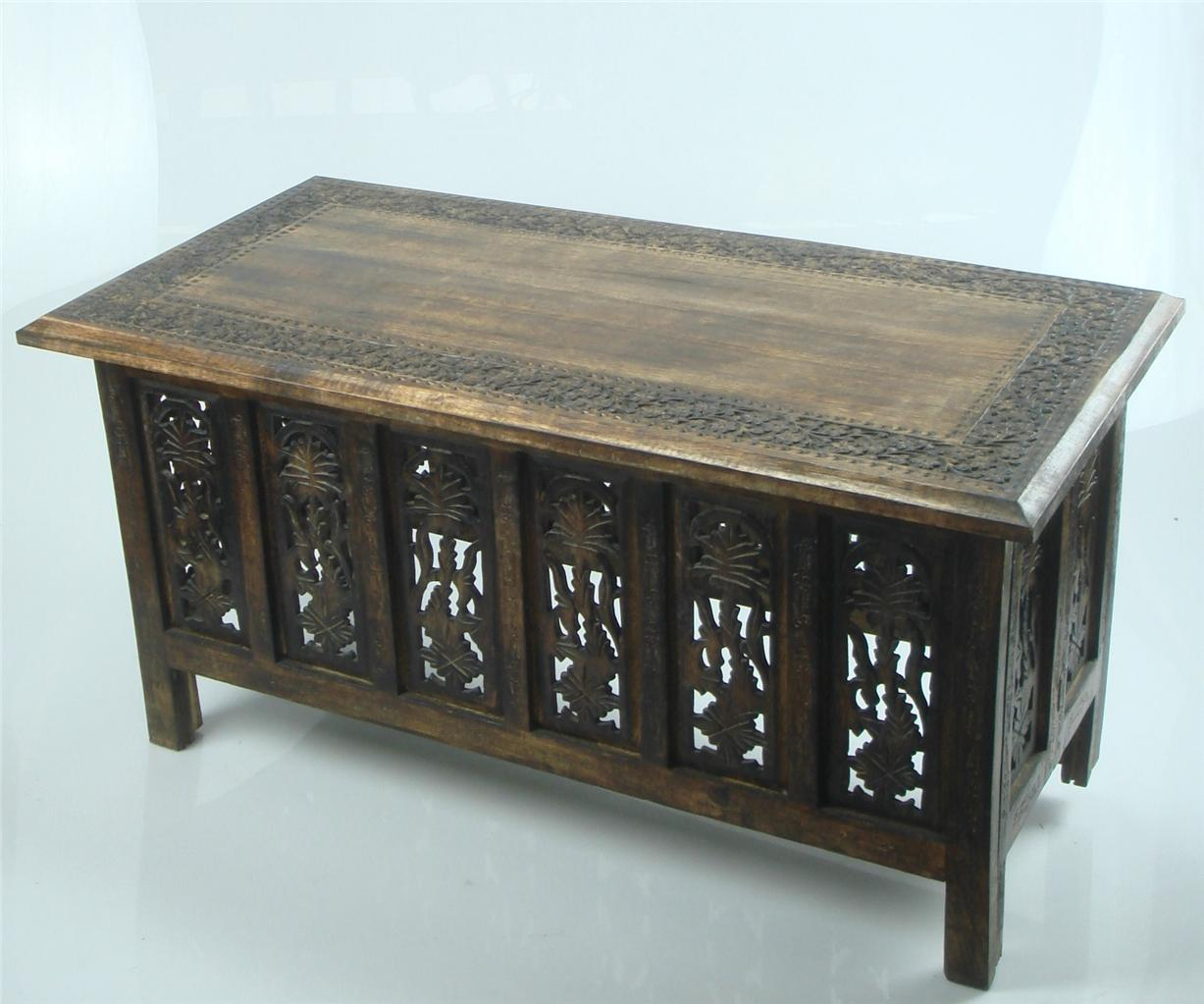 Indian Wood Coffee Table Uk: Beautiful Brown White Hand Carved Indian Wooden Coffee